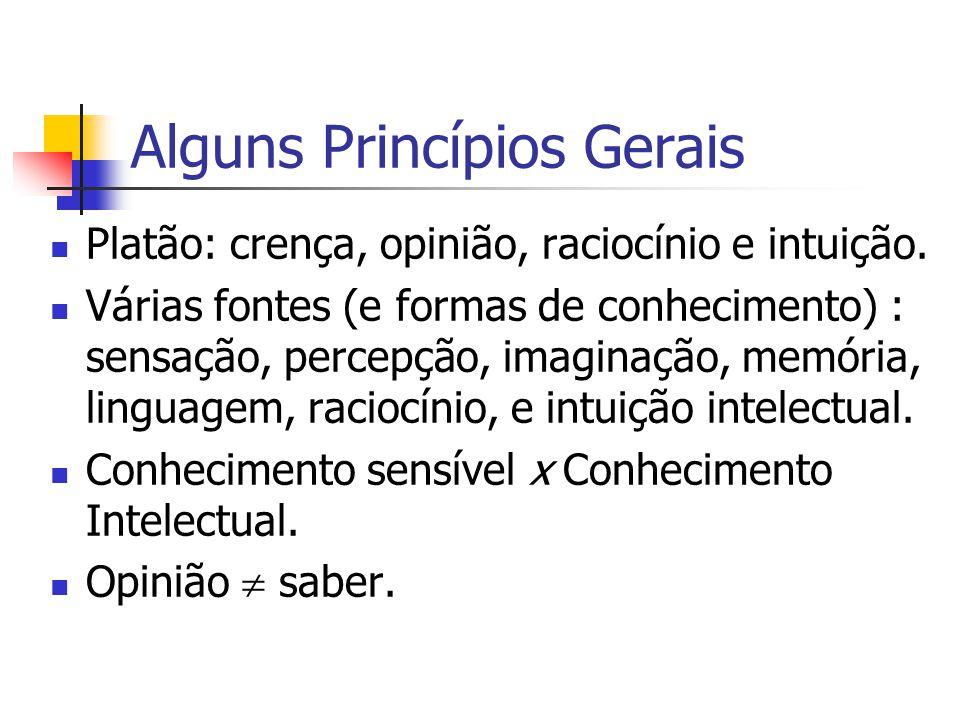 Alguns Princípios Gerais Platão: crença, opinião, raciocínio e intuição.