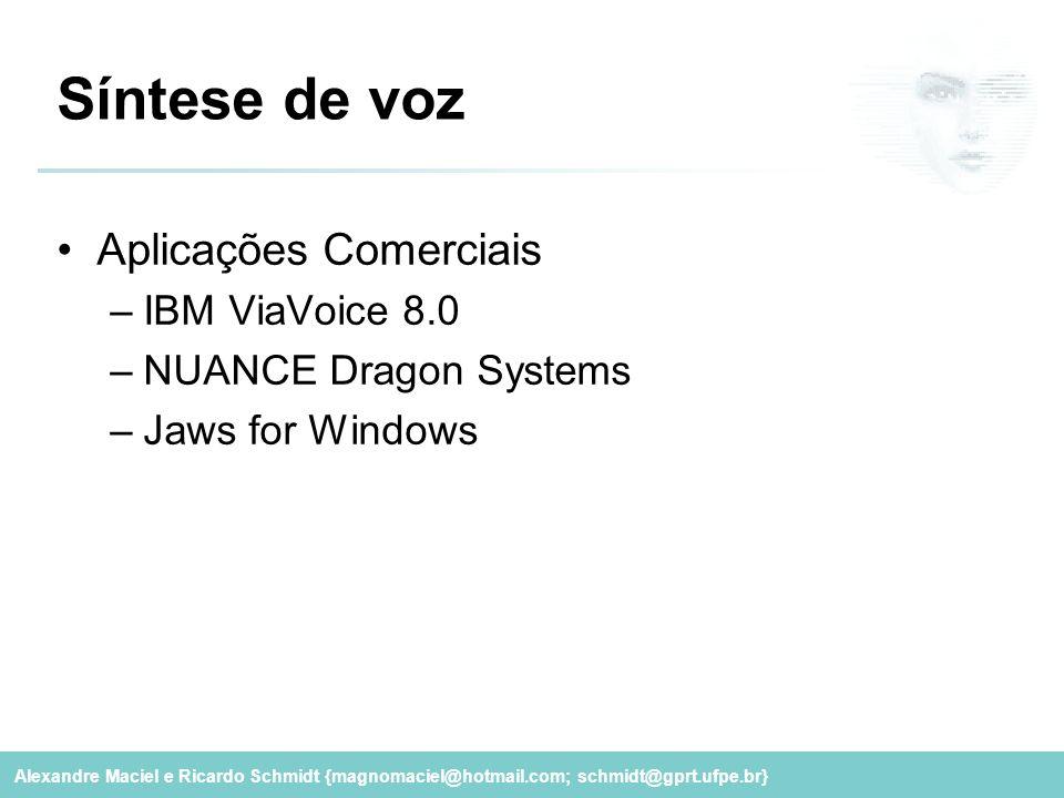Alexandre Maciel e Ricardo Schmidt {magnomaciel@hotmail.com; schmidt@gprt.ufpe.br} Síntese de voz Aplicações Comerciais –IBM ViaVoice 8.0 –NUANCE Drag