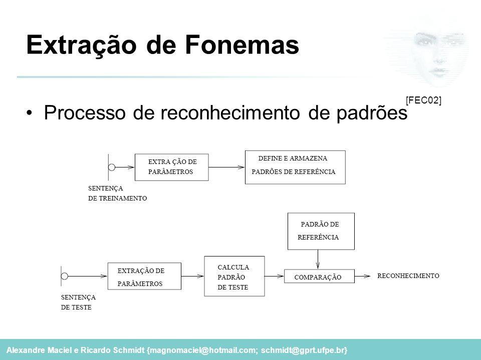 Alexandre Maciel e Ricardo Schmidt {magnomaciel@hotmail.com; schmidt@gprt.ufpe.br} Processo de reconhecimento de padrões Extração de Fonemas [FEC02]