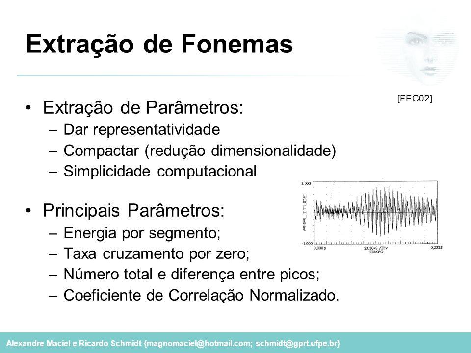 Alexandre Maciel e Ricardo Schmidt {magnomaciel@hotmail.com; schmidt@gprt.ufpe.br} Extração de Fonemas Extração de Parâmetros: –Dar representatividade
