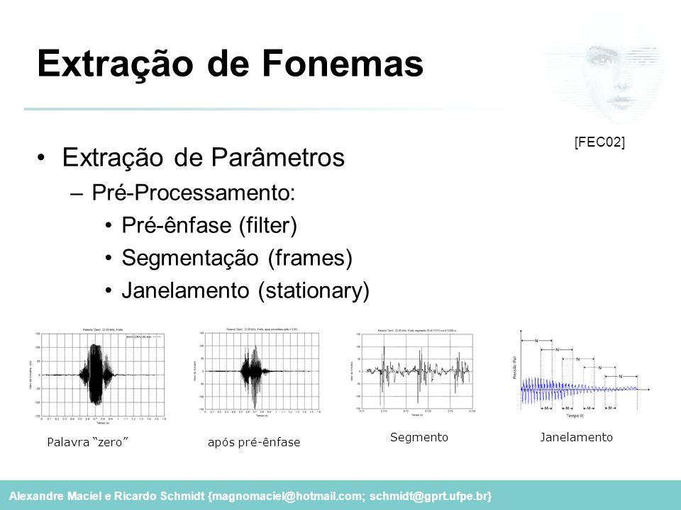 Alexandre Maciel e Ricardo Schmidt {magnomaciel@hotmail.com; schmidt@gprt.ufpe.br} Extração de Fonemas Extração de Parâmetros –Pré-Processamento: Pré-