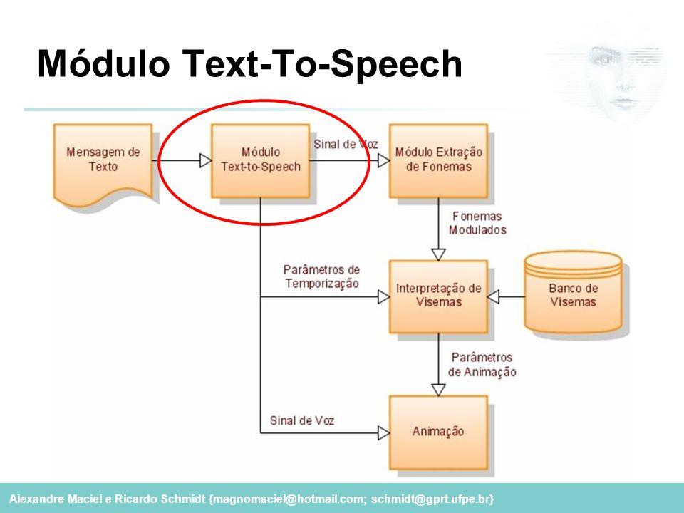 Alexandre Maciel e Ricardo Schmidt {magnomaciel@hotmail.com; schmidt@gprt.ufpe.br} Módulo Text-To-Speech