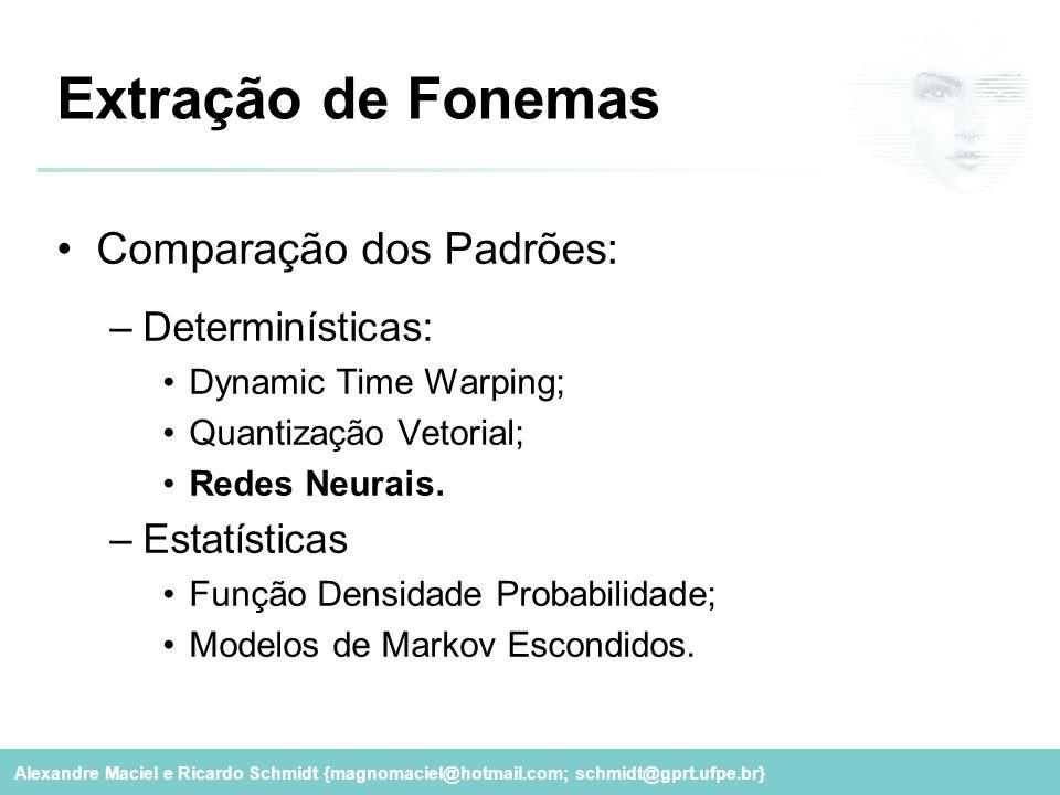 Alexandre Maciel e Ricardo Schmidt {magnomaciel@hotmail.com; schmidt@gprt.ufpe.br} Extração de Fonemas Comparação dos Padrões: –Determinísticas: Dynam
