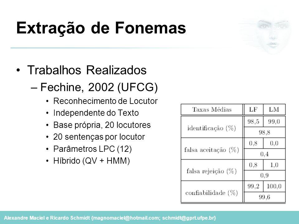 Alexandre Maciel e Ricardo Schmidt {magnomaciel@hotmail.com; schmidt@gprt.ufpe.br} Extração de Fonemas Trabalhos Realizados –Fechine, 2002 (UFCG) Reco