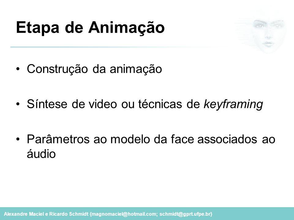 Alexandre Maciel e Ricardo Schmidt {magnomaciel@hotmail.com; schmidt@gprt.ufpe.br} Etapa de Animação Construção da animação Síntese de video ou técnic