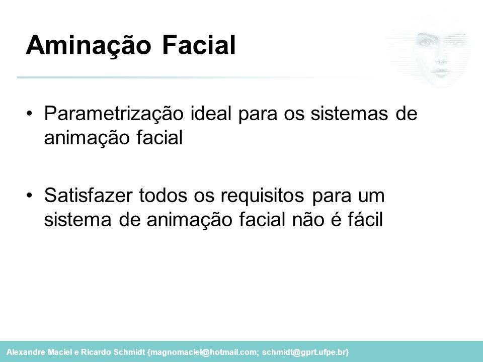 Alexandre Maciel e Ricardo Schmidt {magnomaciel@hotmail.com; schmidt@gprt.ufpe.br} Aminação Facial Parametrização ideal para os sistemas de animação f