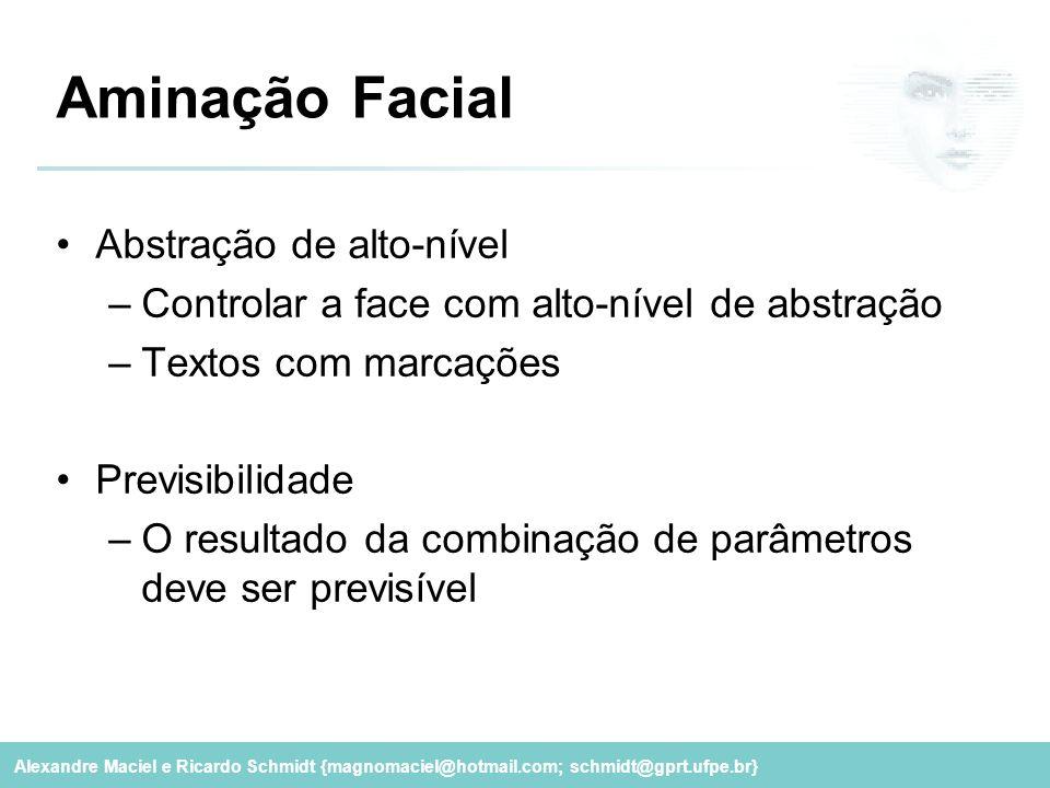 Alexandre Maciel e Ricardo Schmidt {magnomaciel@hotmail.com; schmidt@gprt.ufpe.br} Aminação Facial Abstração de alto-nível –Controlar a face com alto-