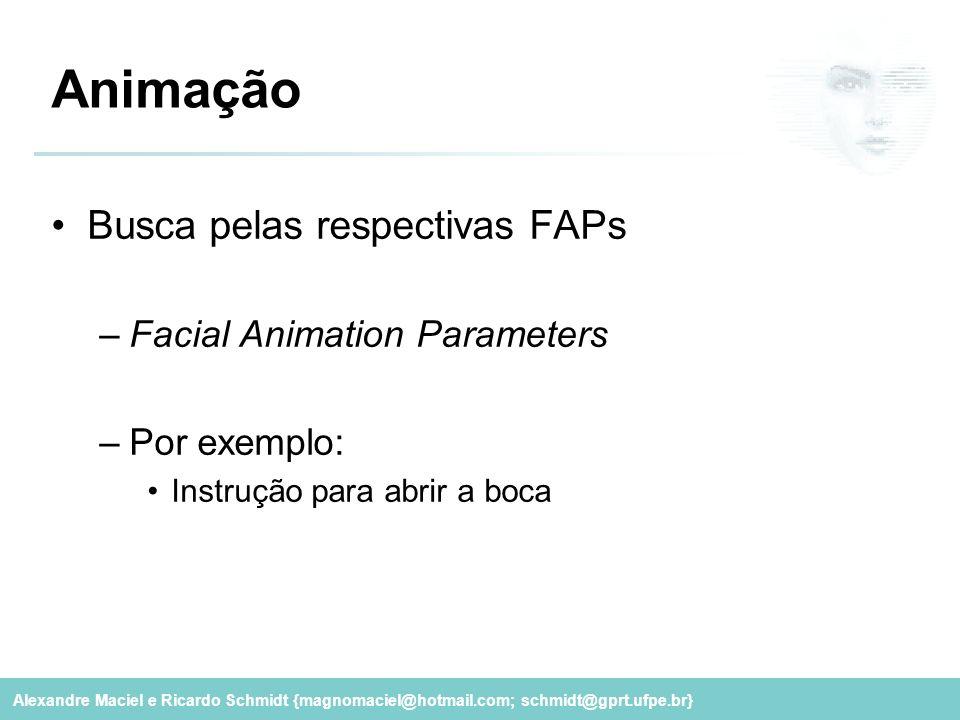 Alexandre Maciel e Ricardo Schmidt {magnomaciel@hotmail.com; schmidt@gprt.ufpe.br} Animação Busca pelas respectivas FAPs –Facial Animation Parameters