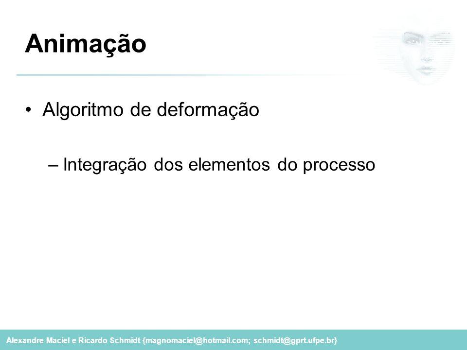 Alexandre Maciel e Ricardo Schmidt {magnomaciel@hotmail.com; schmidt@gprt.ufpe.br} Animação Algoritmo de deformação –Integração dos elementos do proce