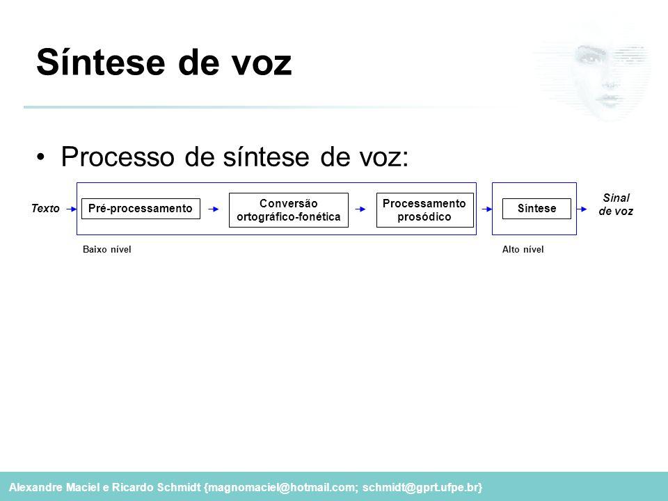 Alexandre Maciel e Ricardo Schmidt {magnomaciel@hotmail.com; schmidt@gprt.ufpe.br} Síntese de voz Processo de síntese de voz: Pré-processamento Conver