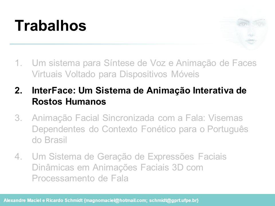 Alexandre Maciel e Ricardo Schmidt {magnomaciel@hotmail.com; schmidt@gprt.ufpe.br} Trabalhos 1.Um sistema para Síntese de Voz e Animação de Faces Virt