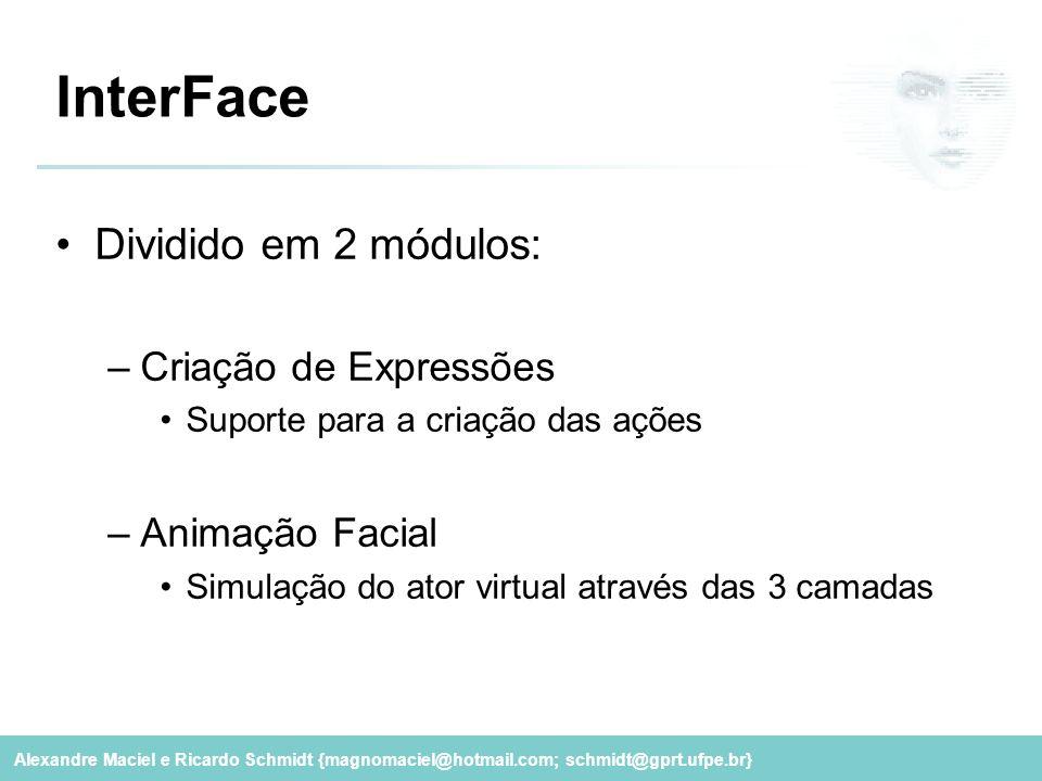Alexandre Maciel e Ricardo Schmidt {magnomaciel@hotmail.com; schmidt@gprt.ufpe.br} InterFace Dividido em 2 módulos: –Criação de Expressões Suporte par