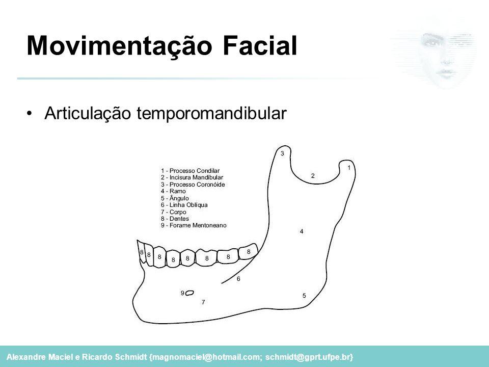 Alexandre Maciel e Ricardo Schmidt {magnomaciel@hotmail.com; schmidt@gprt.ufpe.br} Movimentação Facial Articulação temporomandibular
