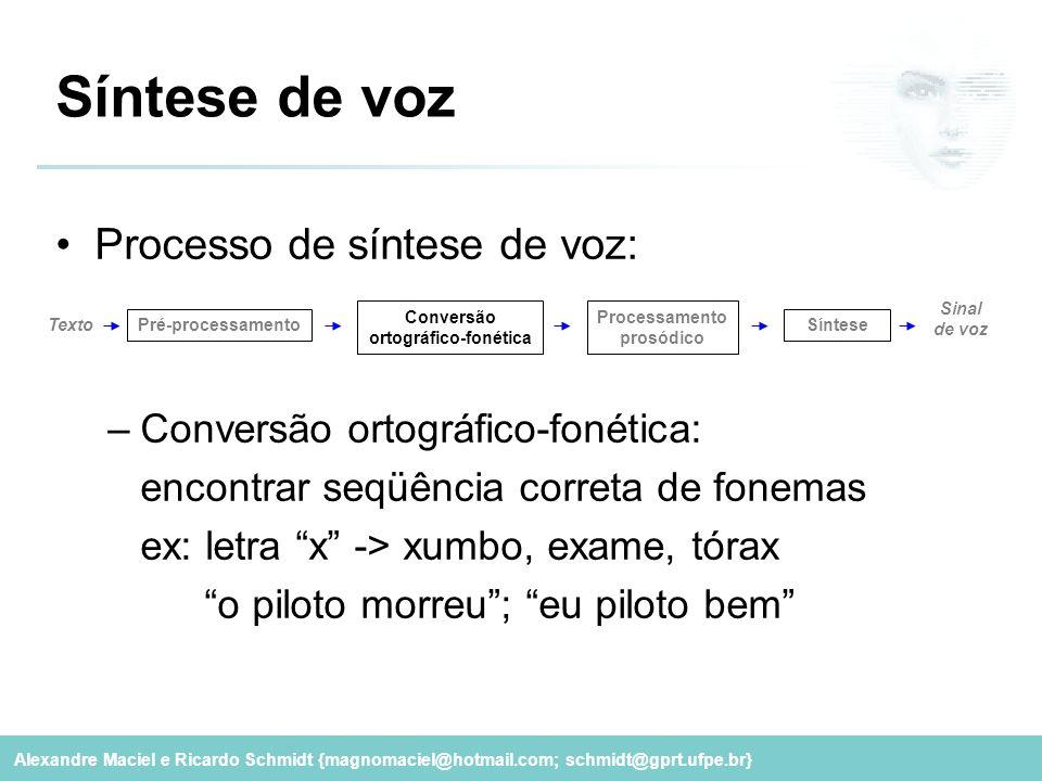 Alexandre Maciel e Ricardo Schmidt {magnomaciel@hotmail.com; schmidt@gprt.ufpe.br} Síntese de voz Processo de síntese de voz: –Conversão ortográfico-f