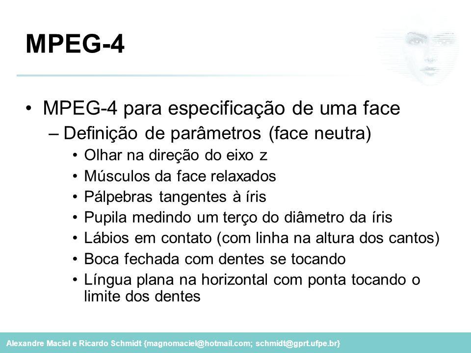 Alexandre Maciel e Ricardo Schmidt {magnomaciel@hotmail.com; schmidt@gprt.ufpe.br} MPEG-4 MPEG-4 para especificação de uma face –Definição de parâmetr