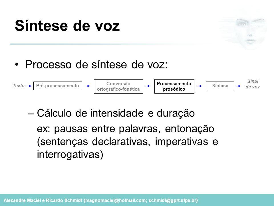 Alexandre Maciel e Ricardo Schmidt {magnomaciel@hotmail.com; schmidt@gprt.ufpe.br} Síntese de voz Processo de síntese de voz: –Cálculo de intensidade