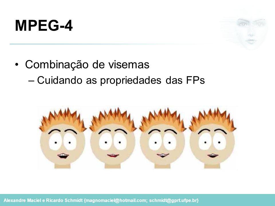 Alexandre Maciel e Ricardo Schmidt {magnomaciel@hotmail.com; schmidt@gprt.ufpe.br} MPEG-4 Combinação de visemas –Cuidando as propriedades das FPs