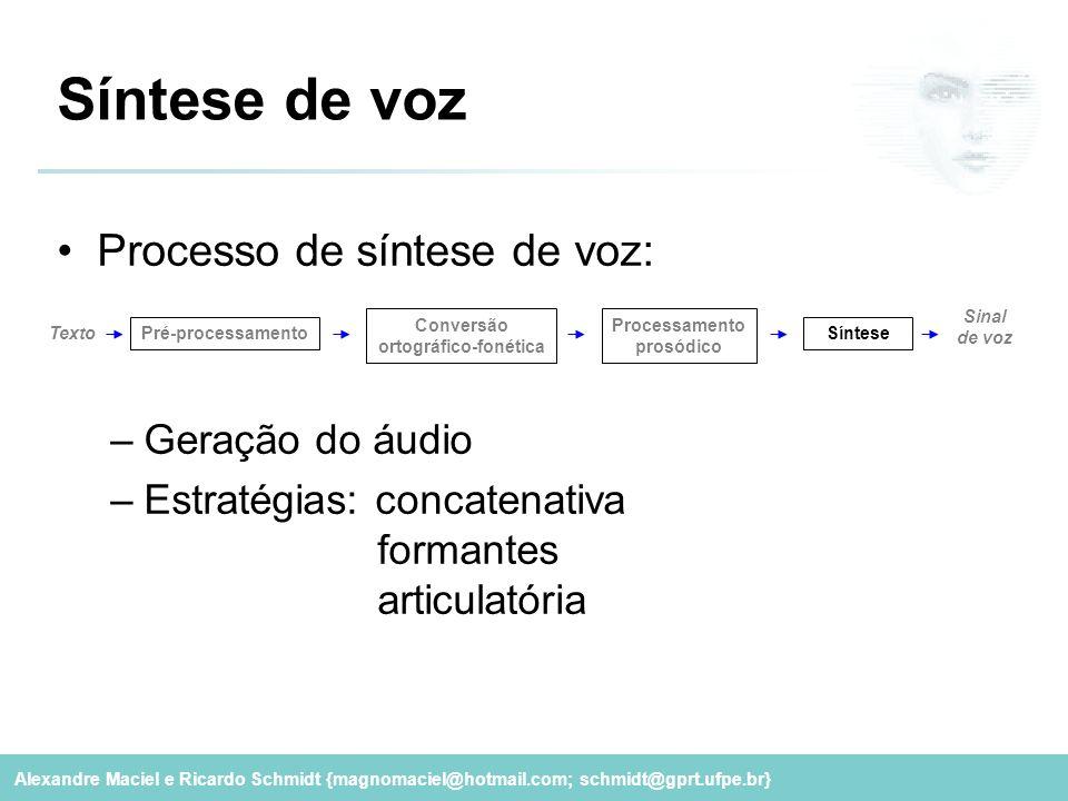 Alexandre Maciel e Ricardo Schmidt {magnomaciel@hotmail.com; schmidt@gprt.ufpe.br} Síntese de voz Processo de síntese de voz: –Geração do áudio –Estra