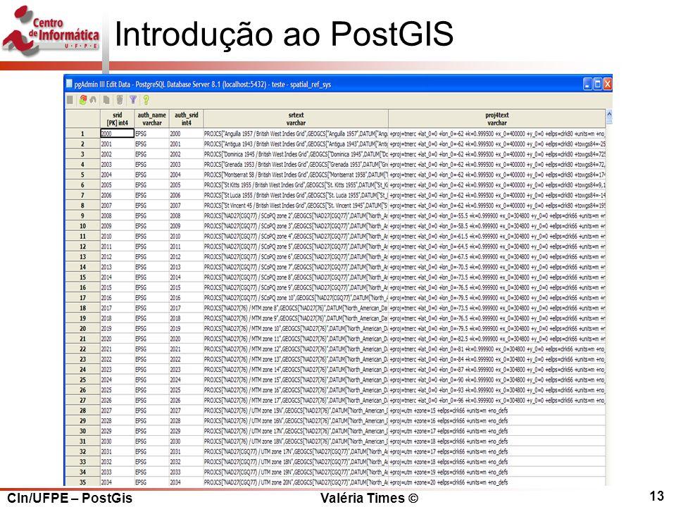 CIn/UFPE – PostGis Valéria Times  13 Introdução ao PostGIS