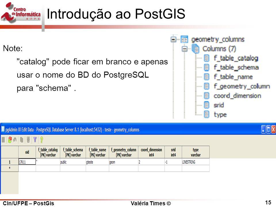 CIn/UFPE – PostGis Valéria Times  15 Introdução ao PostGIS Note: catalog pode ficar em branco e apenas usar o nome do BD do PostgreSQL para schema .