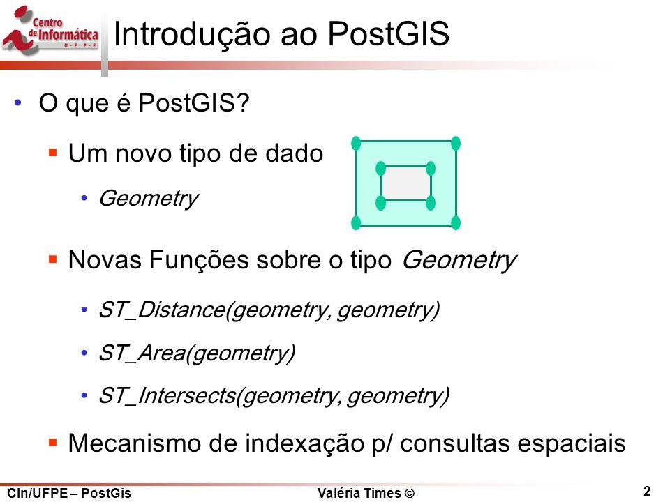 CIn/UFPE – PostGis Valéria Times  2 Introdução ao PostGIS O que é PostGIS.