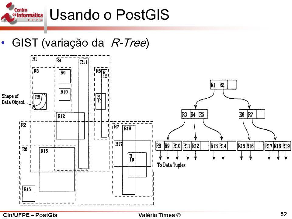 CIn/UFPE – PostGis Valéria Times  52 Usando o PostGIS GIST (variação da R-Tree)