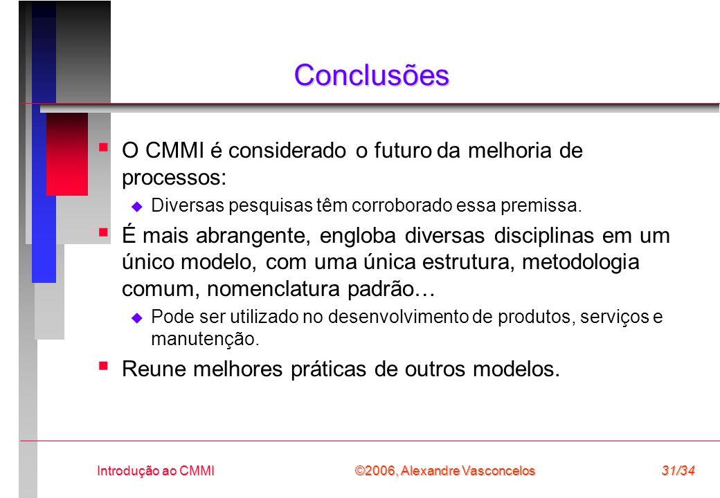 ©2006, Alexandre Vasconcelos Introdução ao CMMI31/34 Conclusões  O CMMI é considerado o futuro da melhoria de processos:  Diversas pesquisas têm corroborado essa premissa.