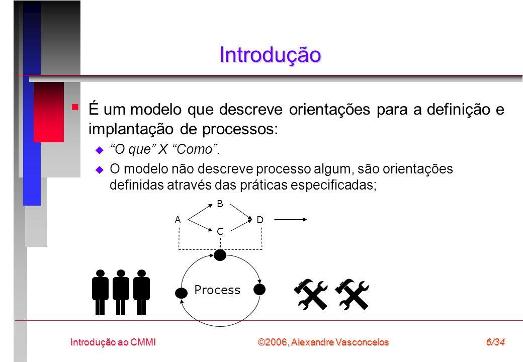 ©2006, Alexandre Vasconcelos Introdução ao CMMI6/34 Introdução  É um modelo que descreve orientações para a definição e implantação de processos:  O que X Como .