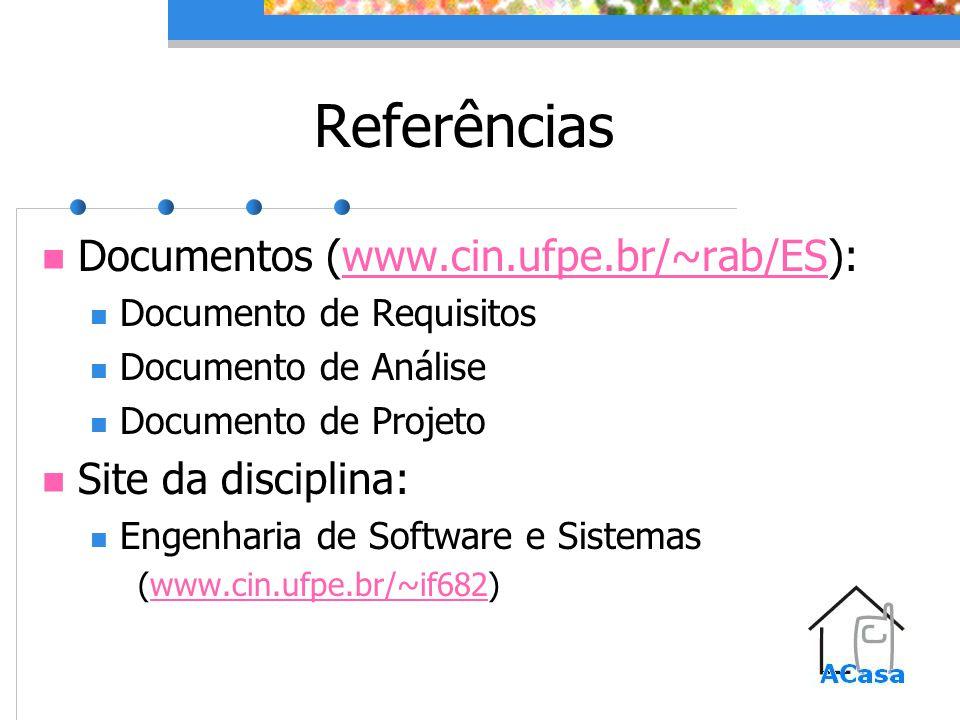 Referências Documentos (www.cin.ufpe.br/~rab/ES):www.cin.ufpe.br/~rab/ES Documento de Requisitos Documento de Análise Documento de Projeto Site da disciplina: Engenharia de Software e Sistemas (www.cin.ufpe.br/~if682)www.cin.ufpe.br/~if682