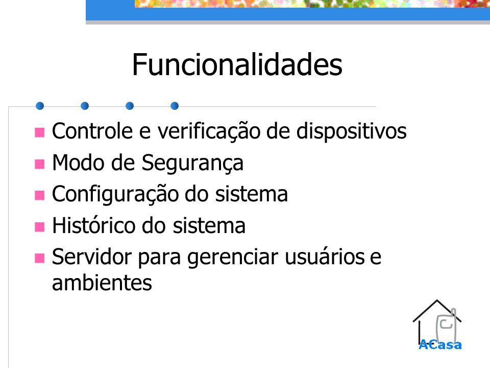 Funcionalidades Controle e verificação de dispositivos Modo de Segurança Configuração do sistema Histórico do sistema Servidor para gerenciar usuários e ambientes