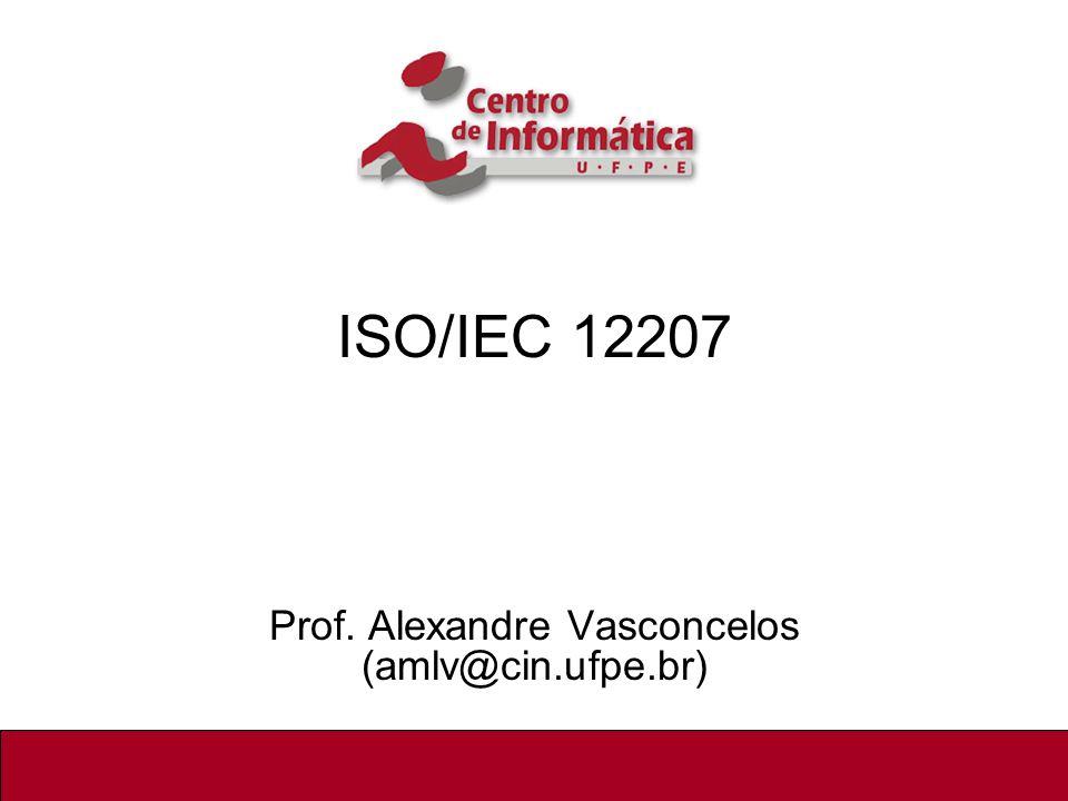 2/22 ISO/IEC 12207 Norma internacional cuja primeira versão foi lançada em agosto/1995, consistindo na primeira Norma Internacional que descreve em detalhes os processos, atividades e tarefas que envolvem a aquisição, fornecimento, desenvolvimento, operação e manutenção de produtos de software Processos de Software Envolvem métodos, técnicas, ferramentas e pessoas