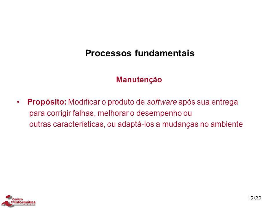 12/22 Processos fundamentais Manutenção Propósito: Modificar o produto de software após sua entrega para corrigir falhas, melhorar o desempenho ou out