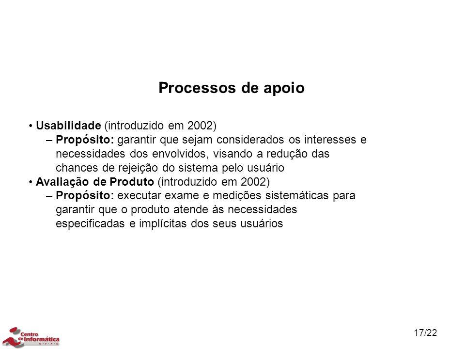 17/22 Usabilidade (introduzido em 2002) – Propósito: garantir que sejam considerados os interesses e necessidades dos envolvidos, visando a redução da