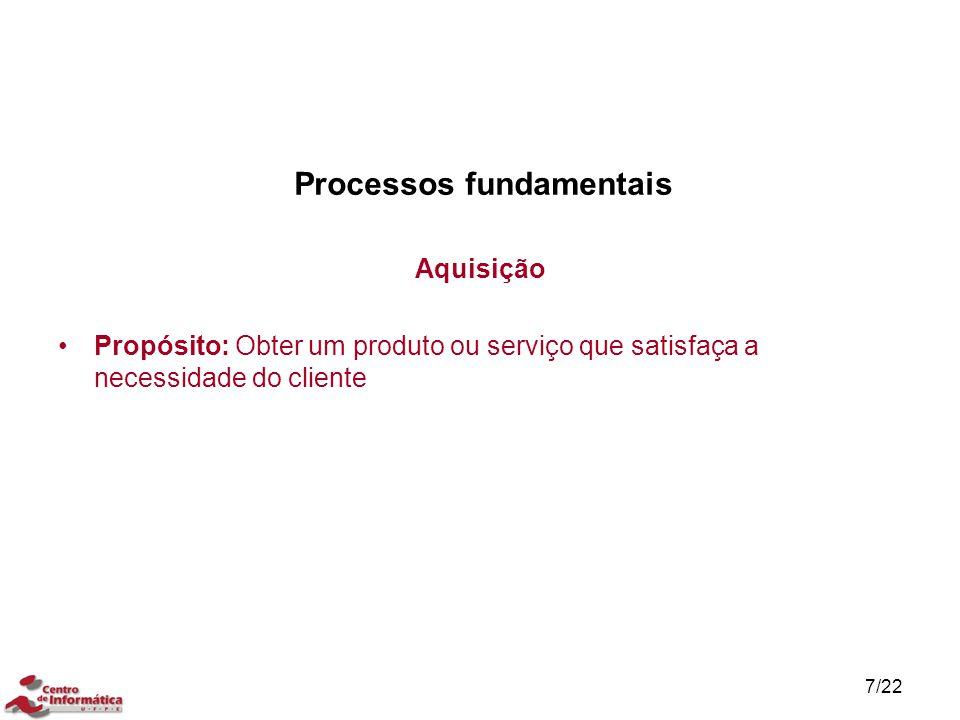 7/22 Processos fundamentais Aquisição Propósito: Obter um produto ou serviço que satisfaça a necessidade do cliente