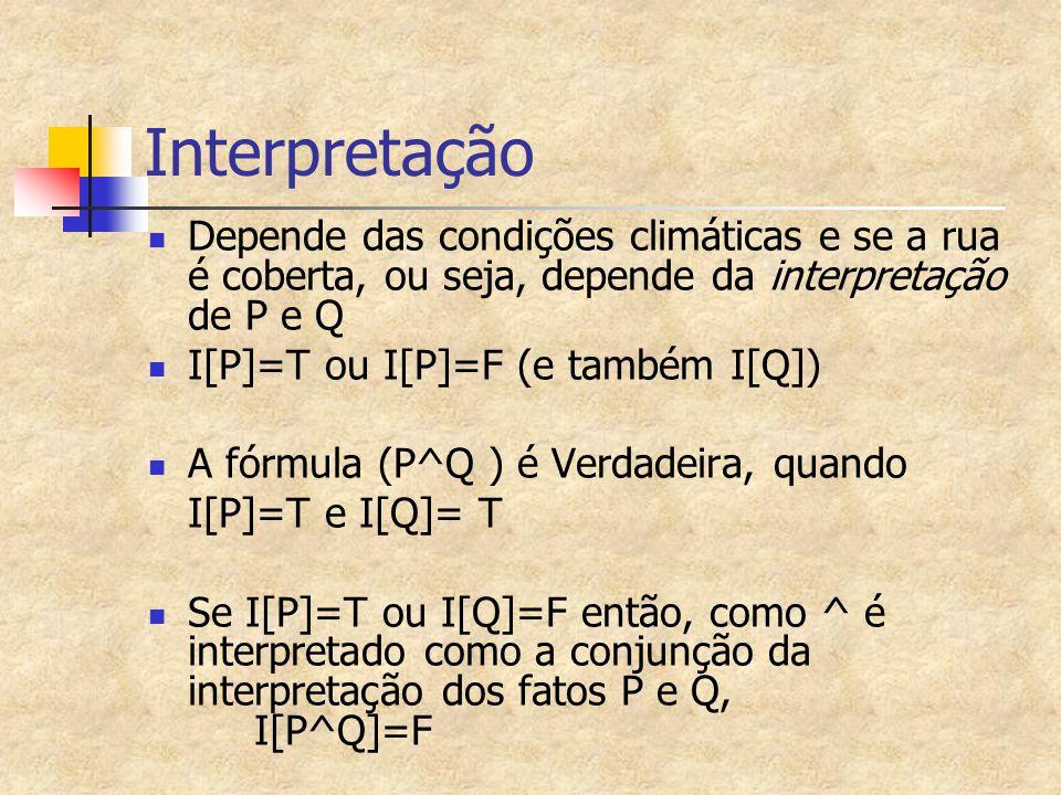 Interpretação Depende das condições climáticas e se a rua é coberta, ou seja, depende da interpretação de P e Q I[P]=T ou I[P]=F (e também I[Q]) A fór