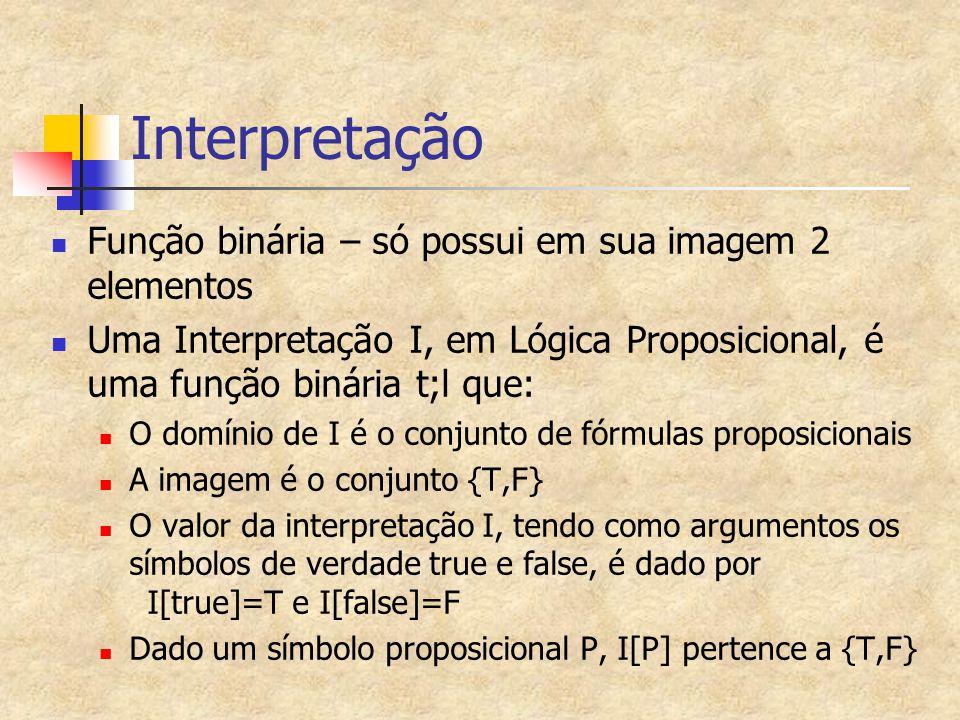 Interpretação Função binária – só possui em sua imagem 2 elementos Uma Interpretação I, em Lógica Proposicional, é uma função binária t;l que: O domín