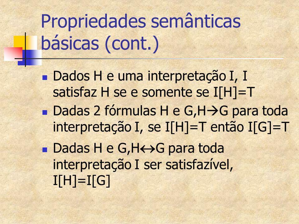 Propriedades semânticas básicas (cont.) Dados H e uma interpretação I, I satisfaz H se e somente se I[H]=T Dadas 2 fórmulas H e G,H  G para toda inte