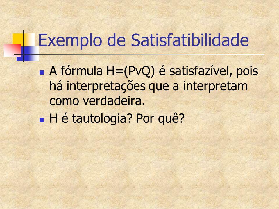 Exemplo de Satisfatibilidade A fórmula H=(PvQ) é satisfazível, pois há interpretações que a interpretam como verdadeira. H é tautologia? Por quê?