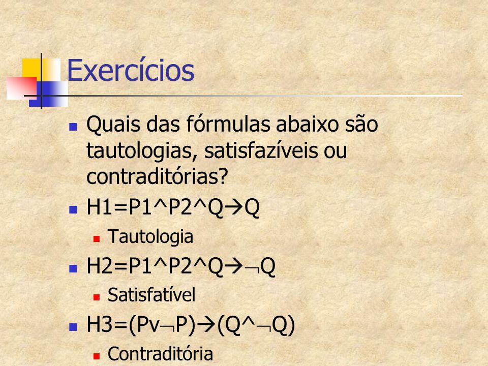 Exercícios Quais das fórmulas abaixo são tautologias, satisfazíveis ou contraditórias? H1=P1^P2^Q  Q Tautologia H2=P1^P2^Q   Q Satisfatível H3=(Pv