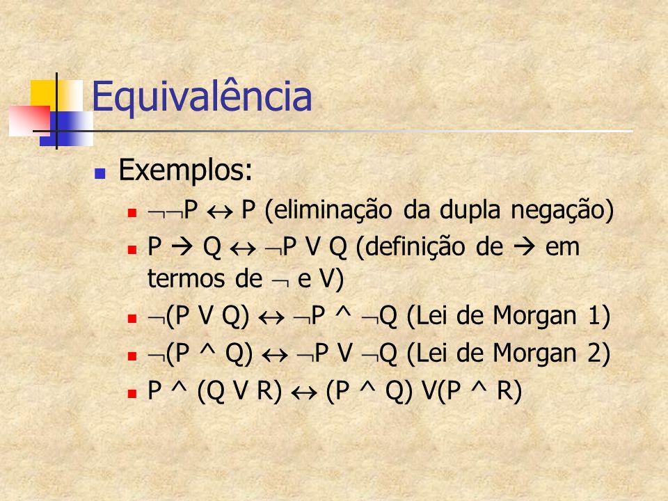 Equivalência Exemplos:  P  P (eliminação da dupla negação) P  Q   P V Q (definição de  em termos de  e V)  (P V Q)   P ^  Q (Lei de Morgan