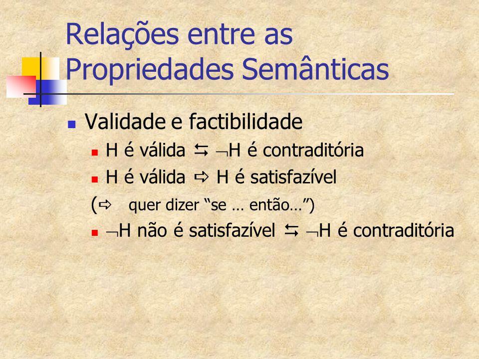 """Relações entre as Propriedades Semânticas Validade e factibilidade H é válida   H é contraditória H é válida  H é satisfazível (  quer dizer """"se"""