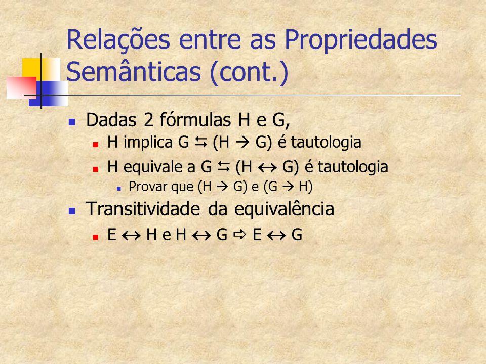 Relações entre as Propriedades Semânticas (cont.) Dadas 2 fórmulas H e G, H implica G   (H  G) é tautologia H equivale a G   (H  G) é tautologia