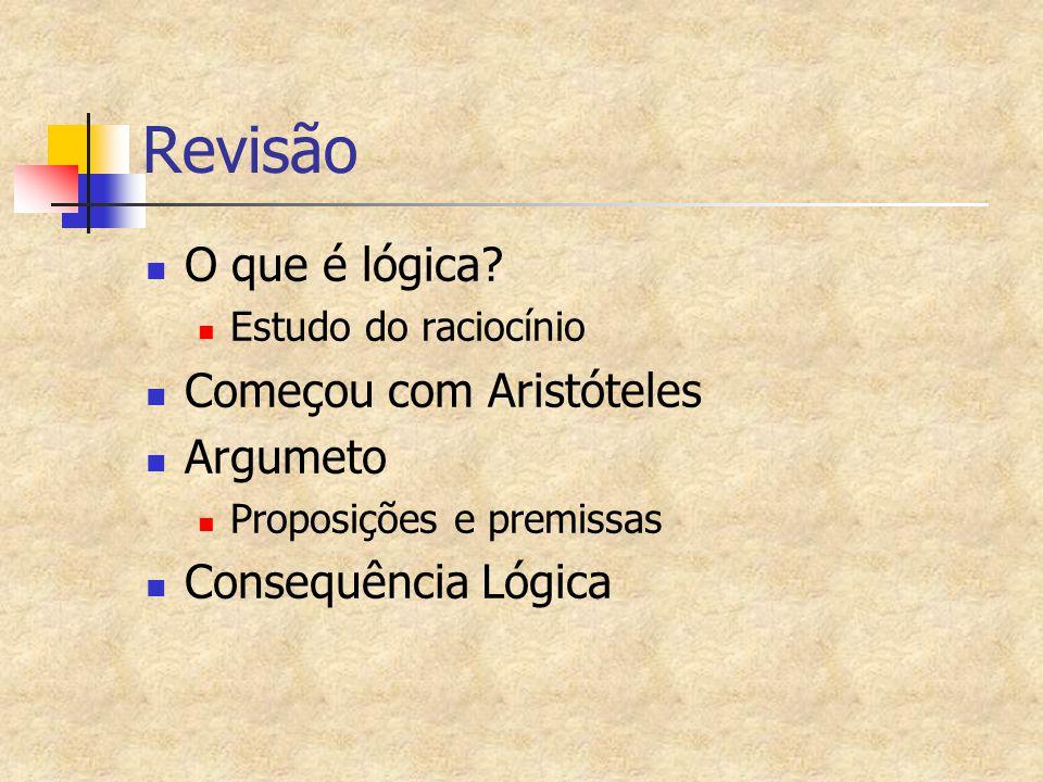 Revisão O que é lógica? Estudo do raciocínio Começou com Aristóteles Argumeto Proposições e premissas Consequência Lógica
