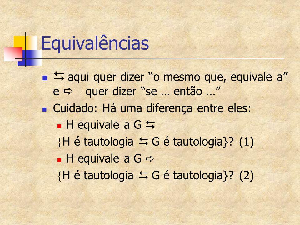 """Equivalências   aqui quer dizer """"o mesmo que, equivale a"""" e  quer dizer """"se … então …"""" Cuidado: Há uma diferença entre eles: H equivale a G   H"""