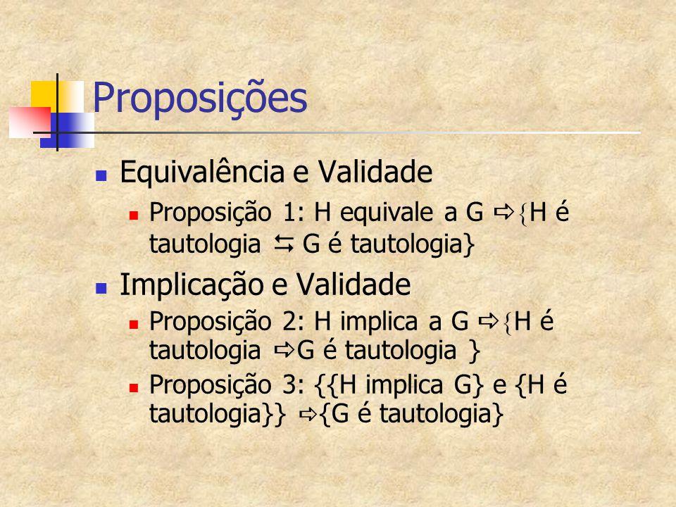 Proposições Equivalência e Validade Proposição 1: H equivale a G   H é tautologia   G é tautologia} Implicação e Validade Proposição 2: H implica