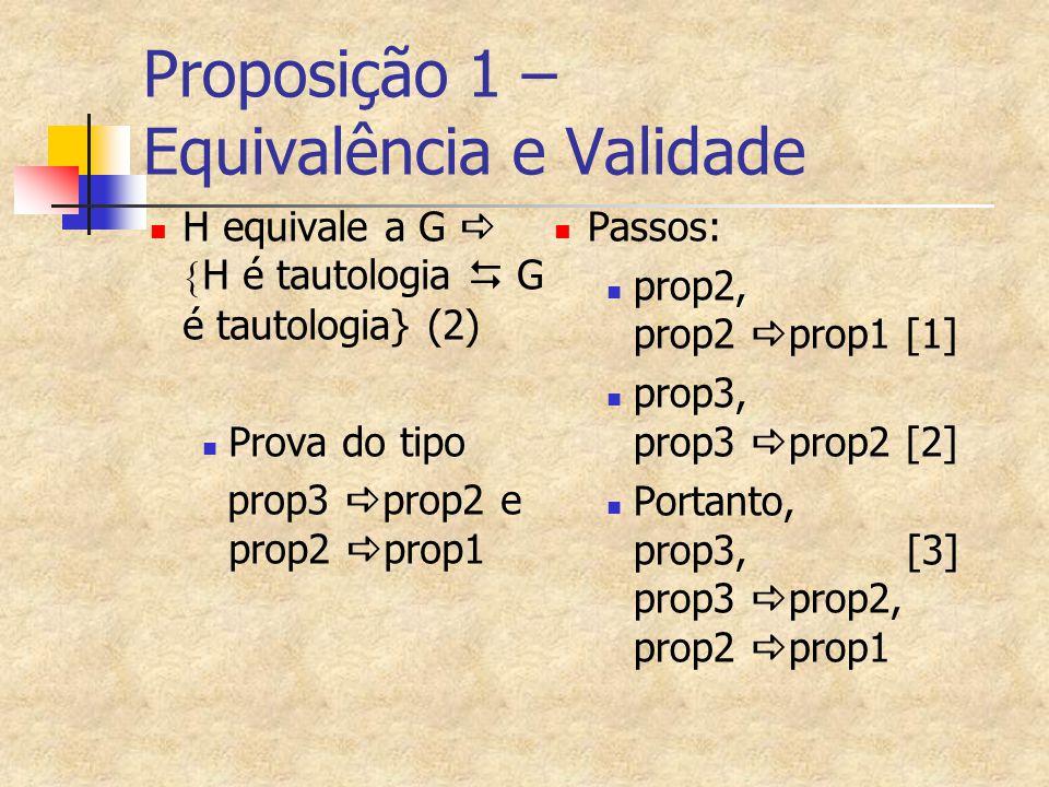 Proposição 1 – Equivalência e Validade H equivale a G   H é tautologia   G é tautologia} (2) Prova do tipo prop3  prop2 e prop2  prop1 Passos: p