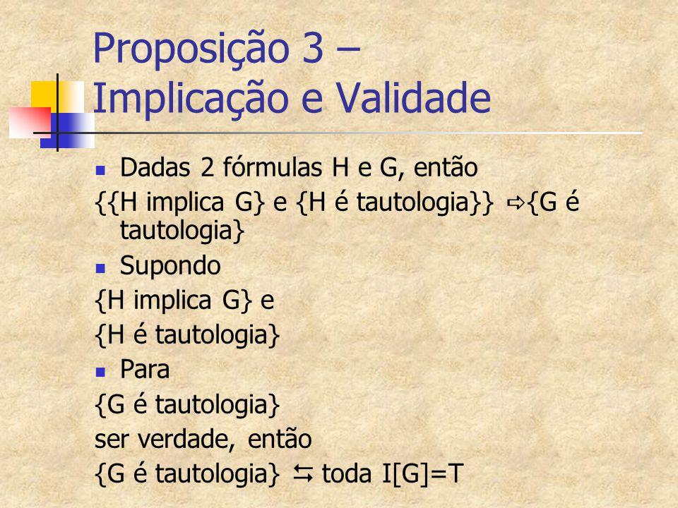 Proposição 3 – Implicação e Validade Dadas 2 fórmulas H e G, então {{H implica G} e {H é tautologia}}  {G é tautologia} Supondo {H implica G} e {H é