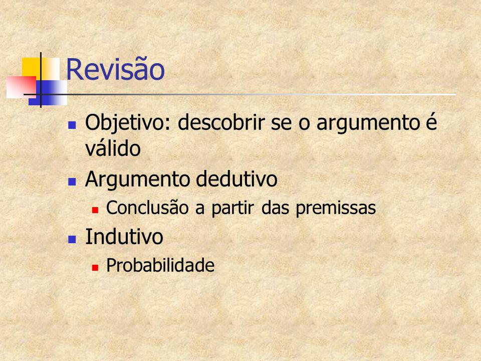 Objetivo: descobrir se o argumento é válido Argumento dedutivo Conclusão a partir das premissas Indutivo Probabilidade