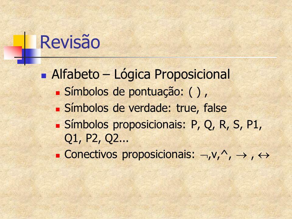 Revisão Alfabeto – Lógica Proposicional Símbolos de pontuação: ( ), Símbolos de verdade: true, false Símbolos proposicionais: P, Q, R, S, P1, Q1, P2,