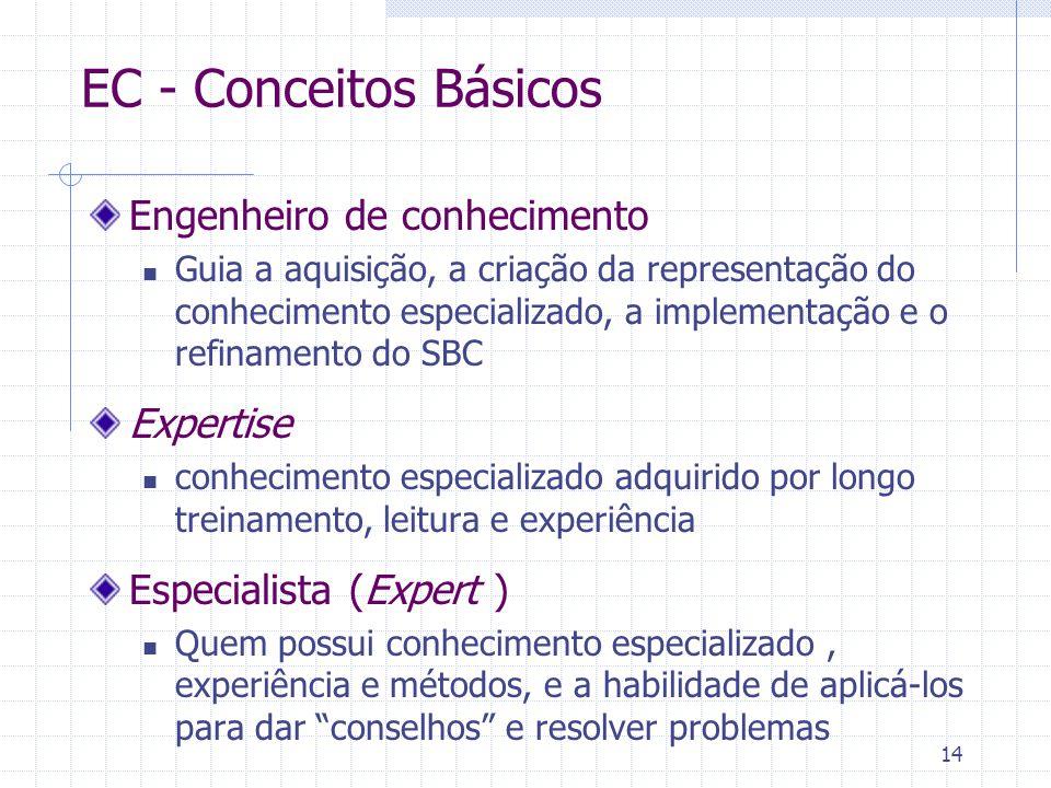 14 EC - Conceitos Básicos Engenheiro de conhecimento Guia a aquisição, a criação da representação do conhecimento especializado, a implementação e o r